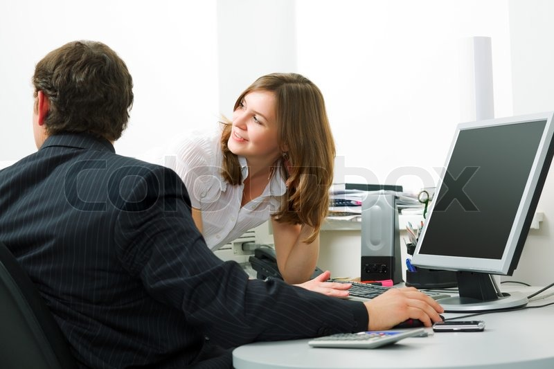 Young business people working on computer | Stock Photo ...