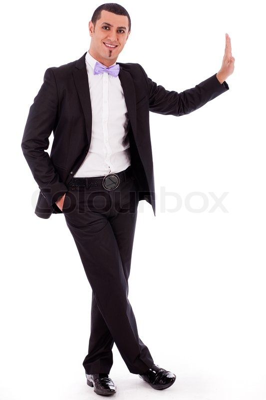 Full Body Portrait Of A Business Man Standing Against The
