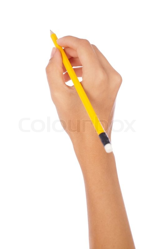 Hand Holding A Pencil On Isolated Background Stock Photo