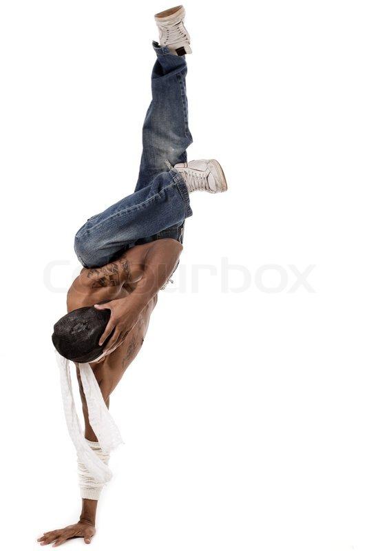 Einhand- Hip-Hop- Tanz auf einem weißen Hintergrund | Stockfoto ...