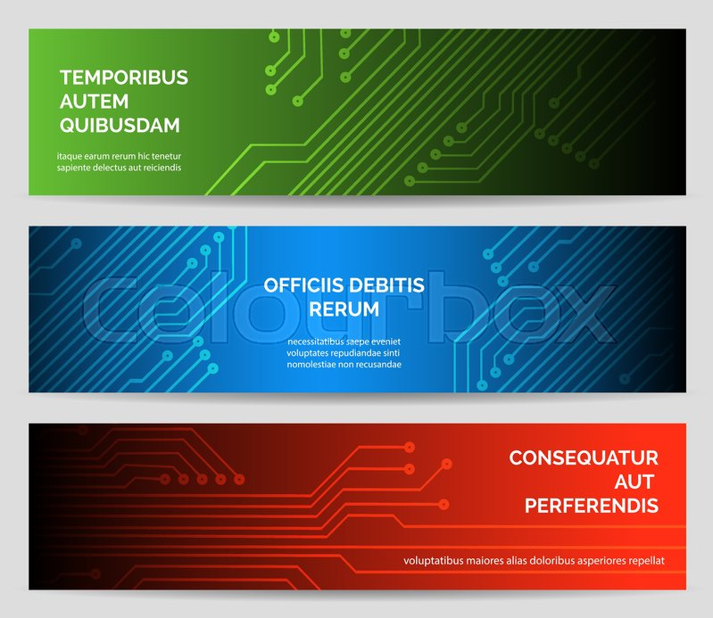 Electronics web banner set. Circuit board vector background ...
