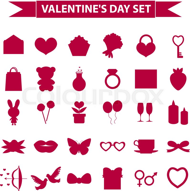 Valentines Day Icon Set Silhouette Style Love Romance Wedding