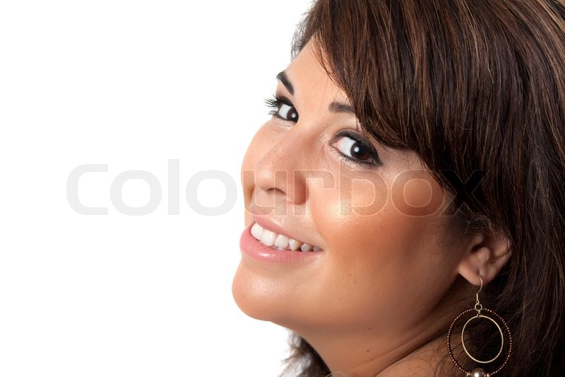 ... white backgroundShe has black hair with brown highlights | Stock Photo