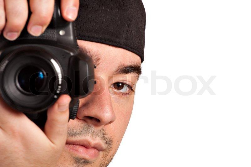 Junger Amateur Weiht Neue Kamera Ein