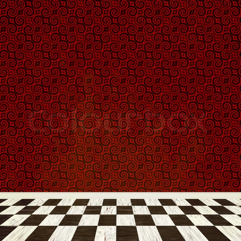 A Fantasy Room Interior Backdrop With Checkered Flooring And A Vintage  Styled Wallpaper Pattern | Stock Photo | Colourbox