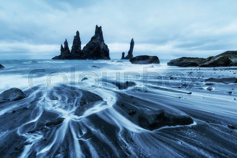 The Rock Troll Toes Reynisdrangar Cliffs Black Sand Beach Iceland Stock Photo Colourbox