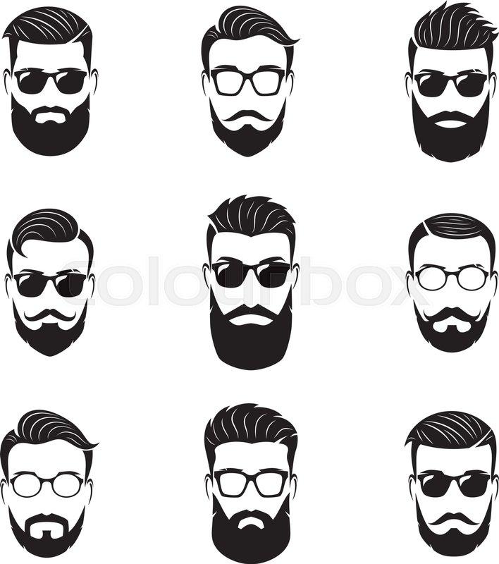 16482aaca Set of vector bearded men faces, ... | Stock vector | Colourbox