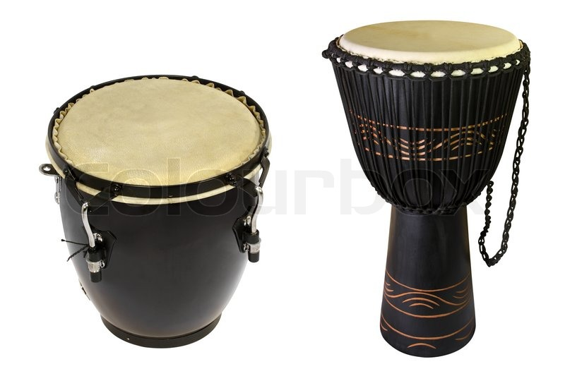 The Image Of Ethnic African Drums Under White Background