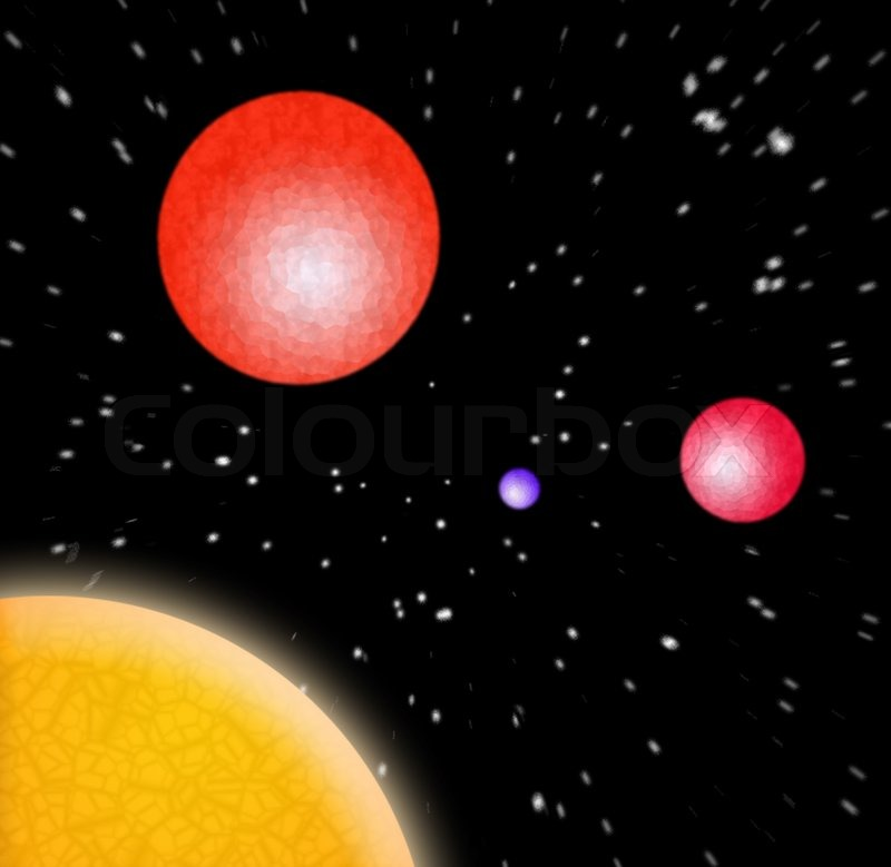 A 3d illustration of some planets in outer space stock for 3d outer space