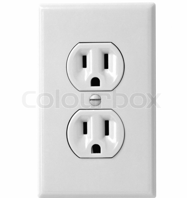 North American white electric wall outlet receptacle for site ...