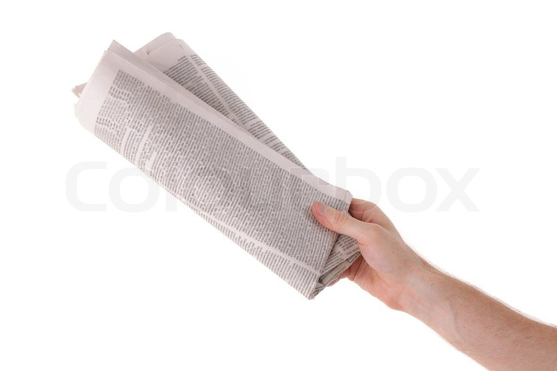 Male hand give newspaper | Stock Photo | Colourbox