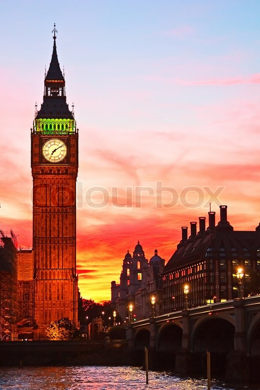 Dramatic Sunset Over Famous Big Ben Clock Tower In London