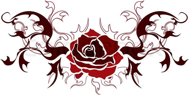 rose tattoo illustration f r web vektorgrafik colourbox. Black Bedroom Furniture Sets. Home Design Ideas