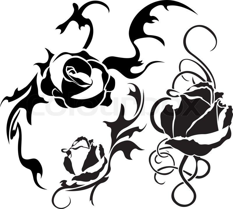 rose tattoo gesetzt illustration f r web vektorgrafik colourbox. Black Bedroom Furniture Sets. Home Design Ideas
