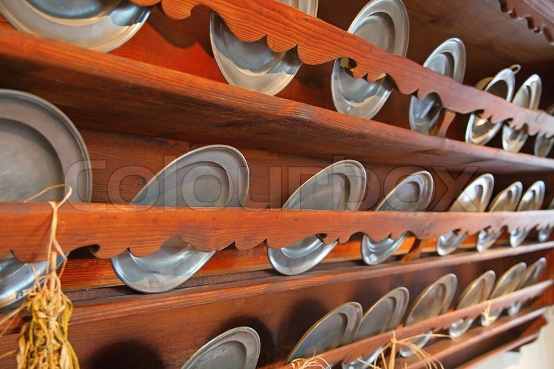 Metal plates on the ancient kitchen (Kyburg castle, Switzerland), stock photo