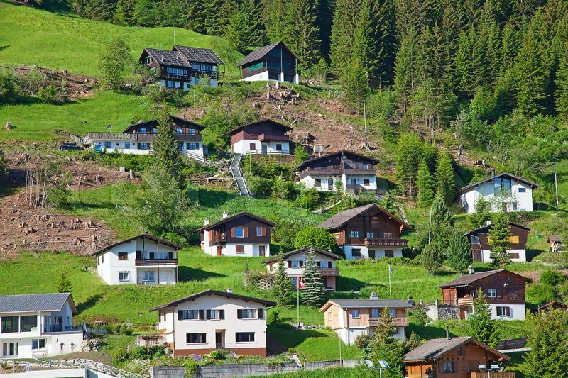 Mountain Village In Swiss Alps Stock Photo Colourbox