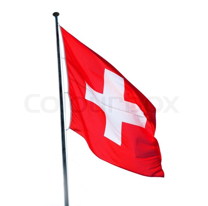 Schweizer Fahne Auf Dem Weißen Hintergrund Isoliert