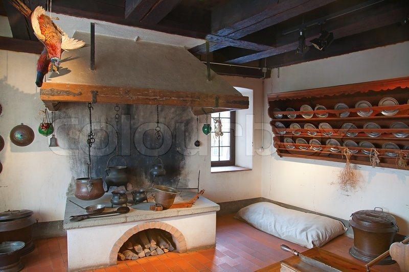 Ancient kitchen (Kyburg castle, Switzerland), stock photo