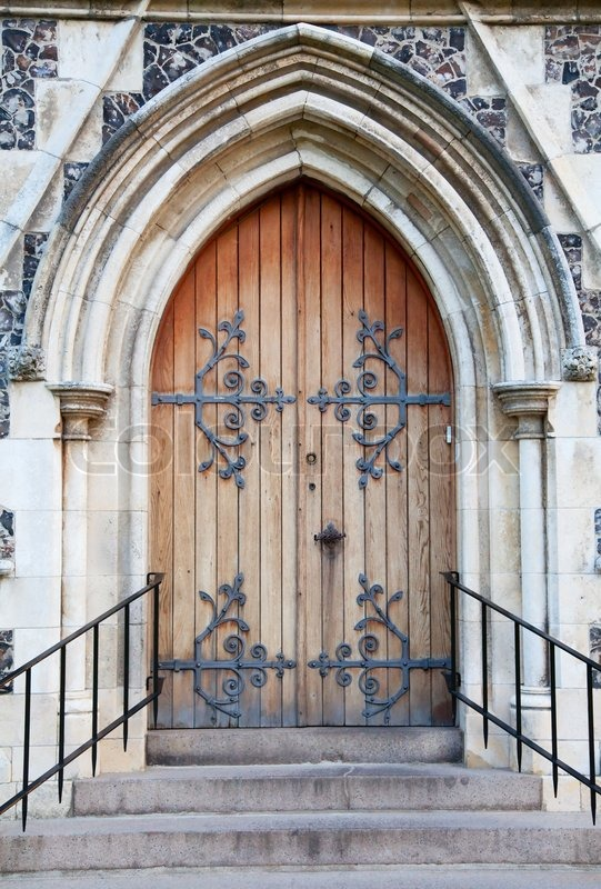 Old Massive Church Door Of The Catholic Church Stock