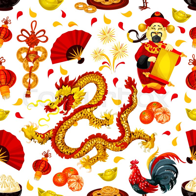 Chinese New Year Symbols Seamless Pattern With Red Rooster Lantern
