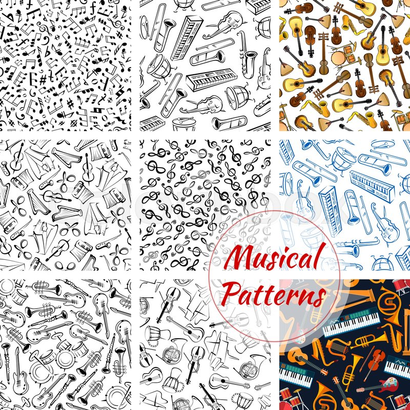 musical instruments seamless patterns stock vector colourbox
