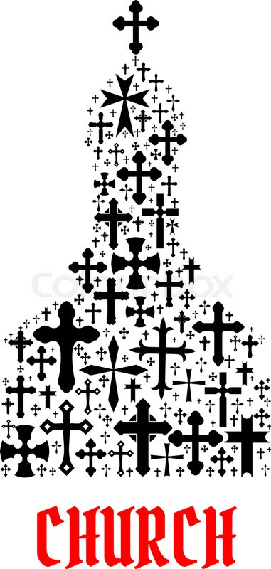 Church Icon Religion Cross Christianity Symbols In Shape Of Temple Monastery For Religious Decoration Emblem And Design Elements Stock Vector