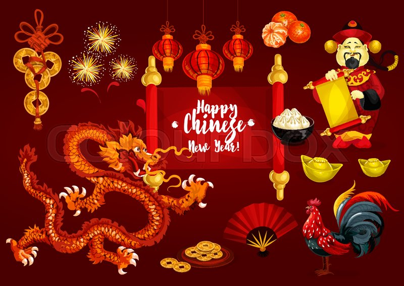 Chinese new year spring festival greeting card golden coin animal chinese new year spring festival greeting card golden coin animal zodiac rooster red paper lantern mandarin fruit dancing dragon god of wealth with m4hsunfo