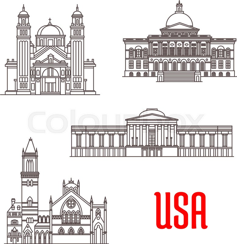 famous american architecture. Contemporary Famous Stock Vector Of U0027USA American Architecture Landmarks St James Cathedral  Massachusetts State And Famous American Architecture