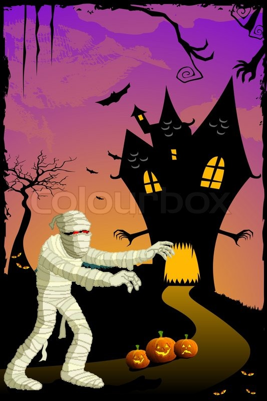 Illustration Of Mummy Going To Haunted House In Scary