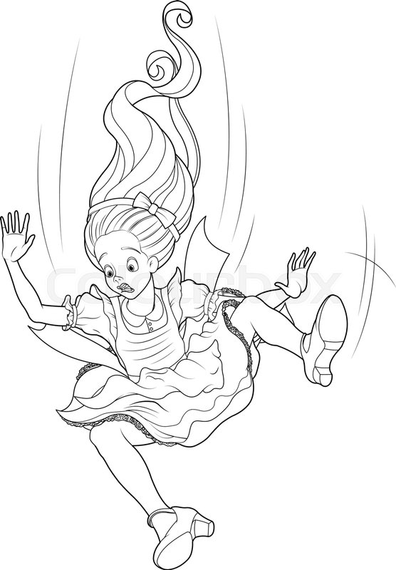 alice is falling down into the rabbit