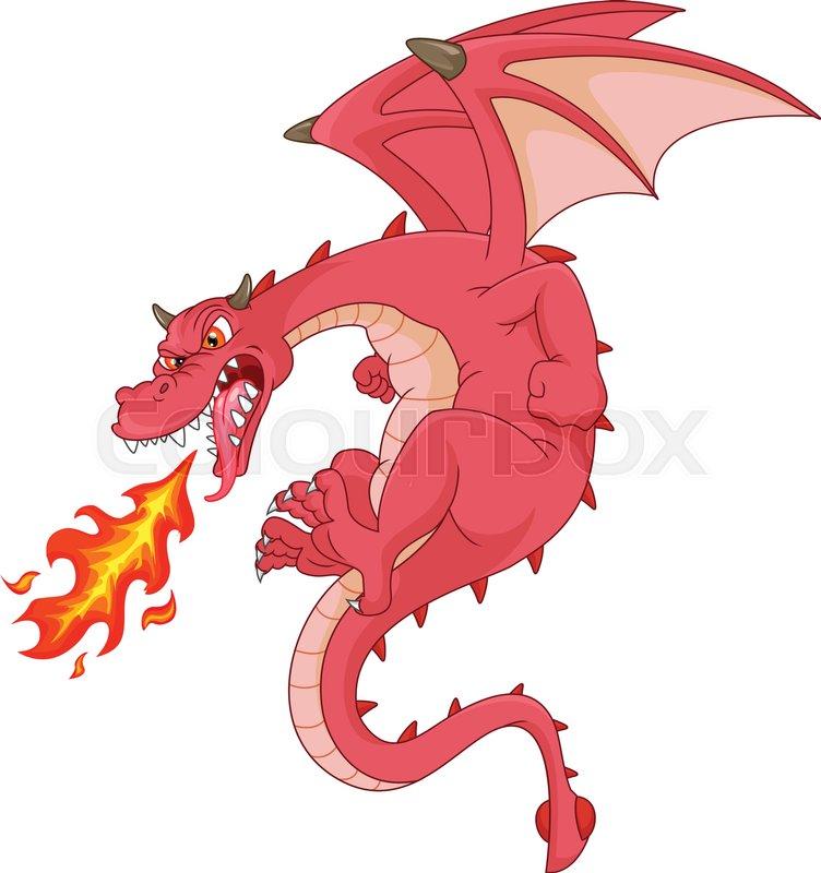 vector illustration of angry dragon cartoon stock vector colourbox