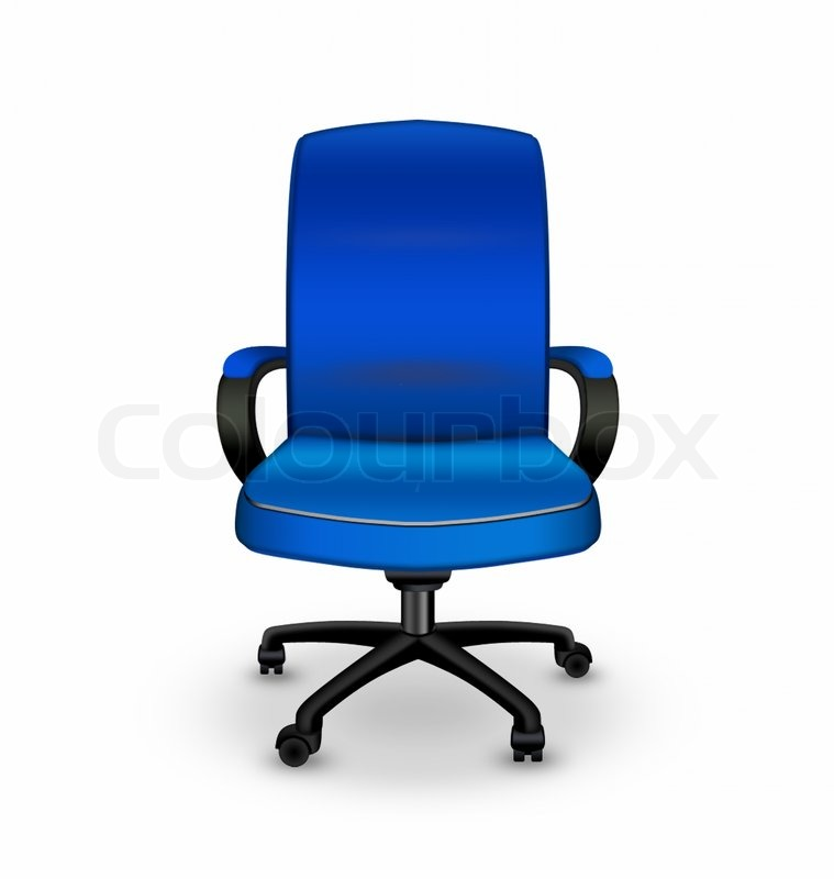 Blue Office Chair Isolated On A White Background Stock
