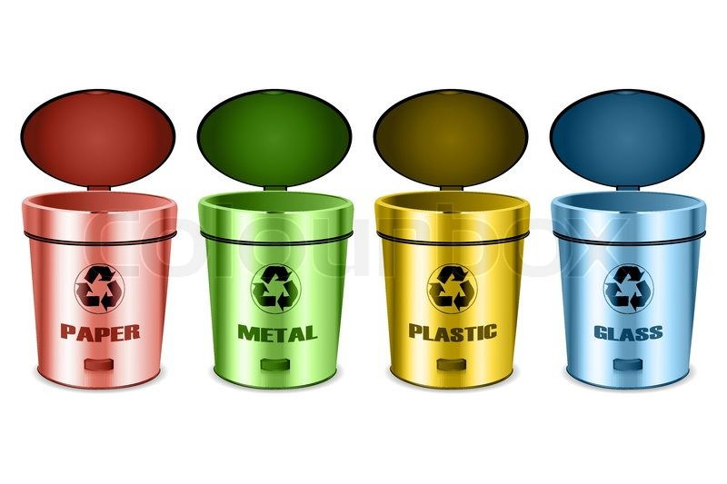 Illustration Of Sets Of Recycle Bins On White Background