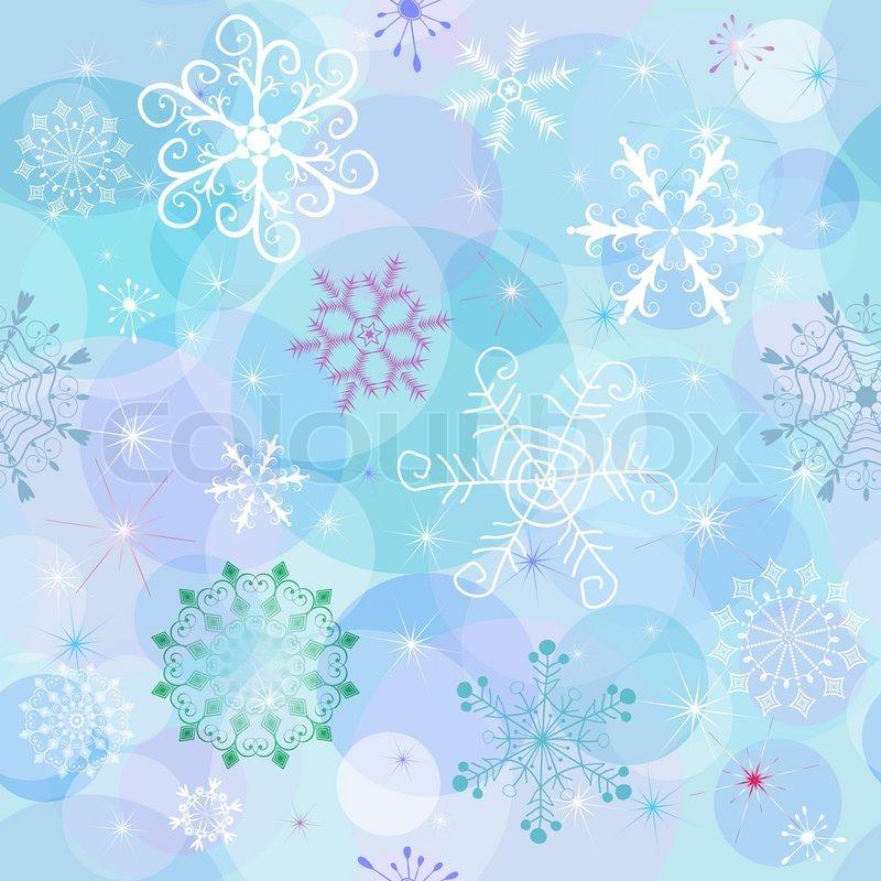 Nahtlose Winter Tapete mit chaotischen Schneeflocken und Kugeln ...