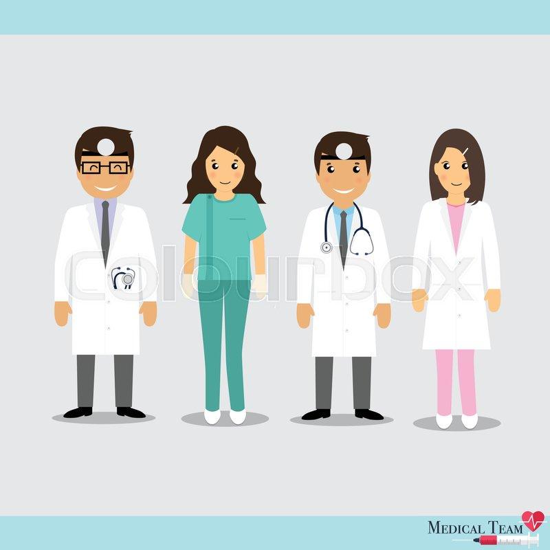 Set Of Cartoon Medical Team Dentist Doctors And Medical