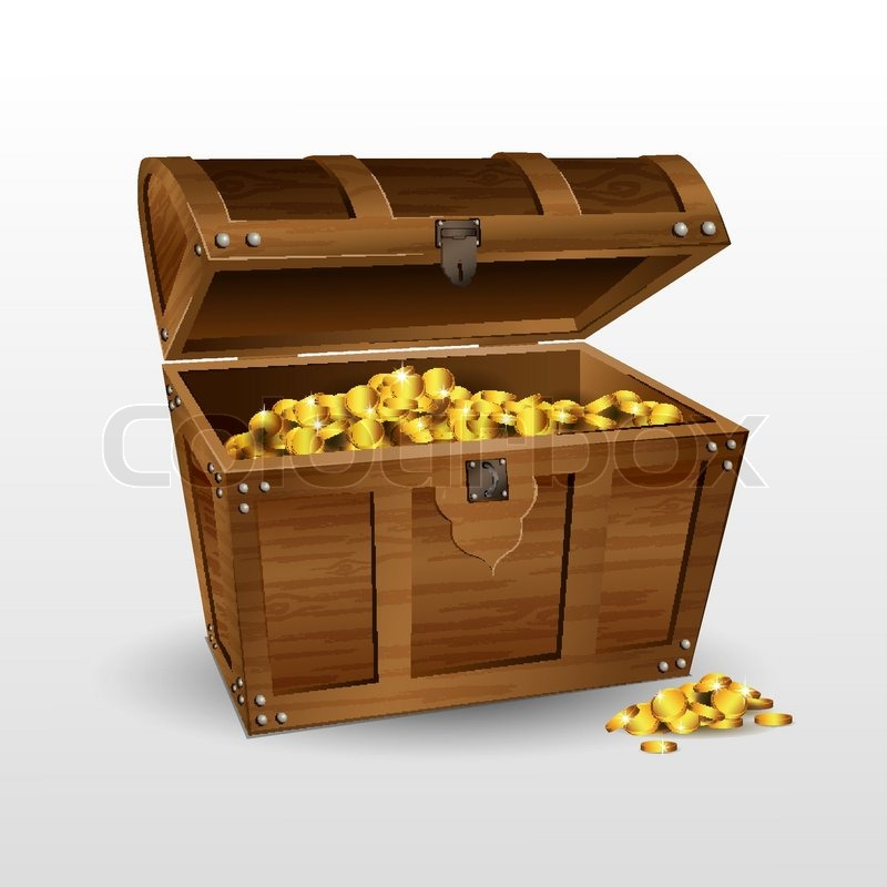 Illustration of treasure chest with coins on white background | Stock ...