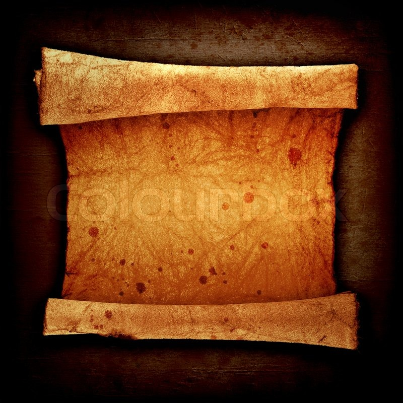 Scroll Of Old Parchment On A Vintage Background Stock