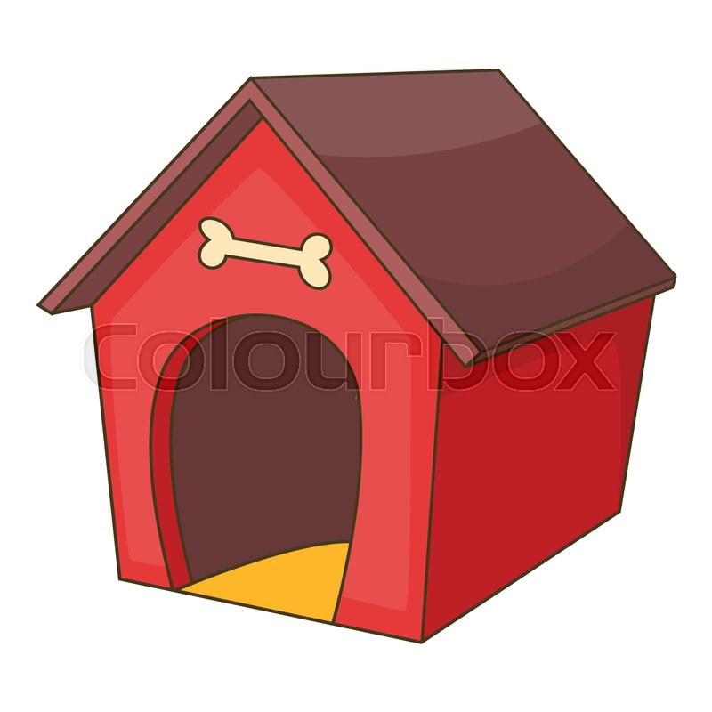 red dog house icon cartoon illustration of dog house