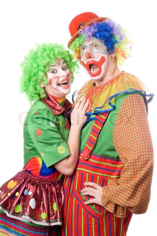 paar lustige clowns auf wei em hintergrund stockfoto colourbox. Black Bedroom Furniture Sets. Home Design Ideas