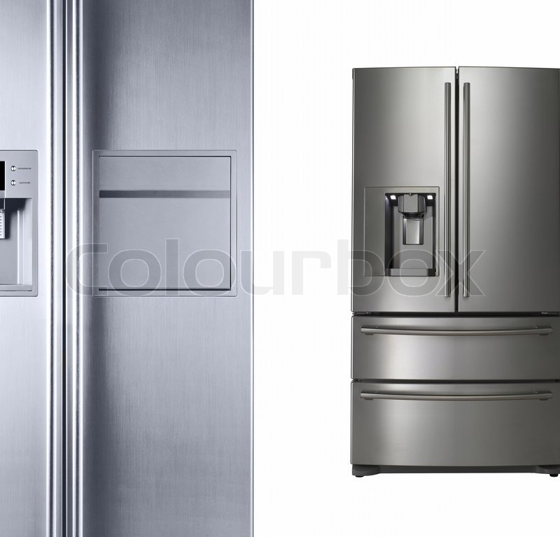 moderne kühlschränke isoliert auf weiß stockfoto colourbox