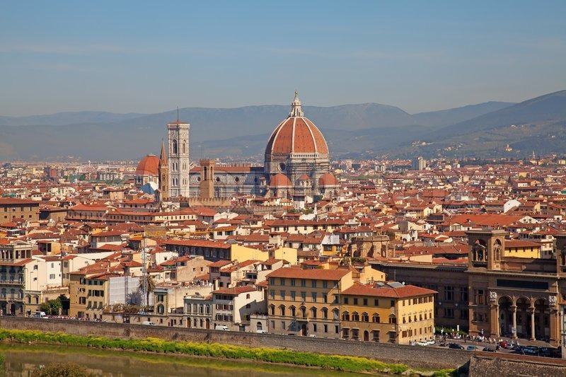 City Of Florence: Panoramic View Of Florence City, Tuscany, Italy