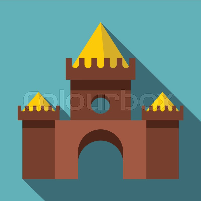 Brown castle icon. Flat illustration of brown castle vector icon for web isolated on baby blue background, vector