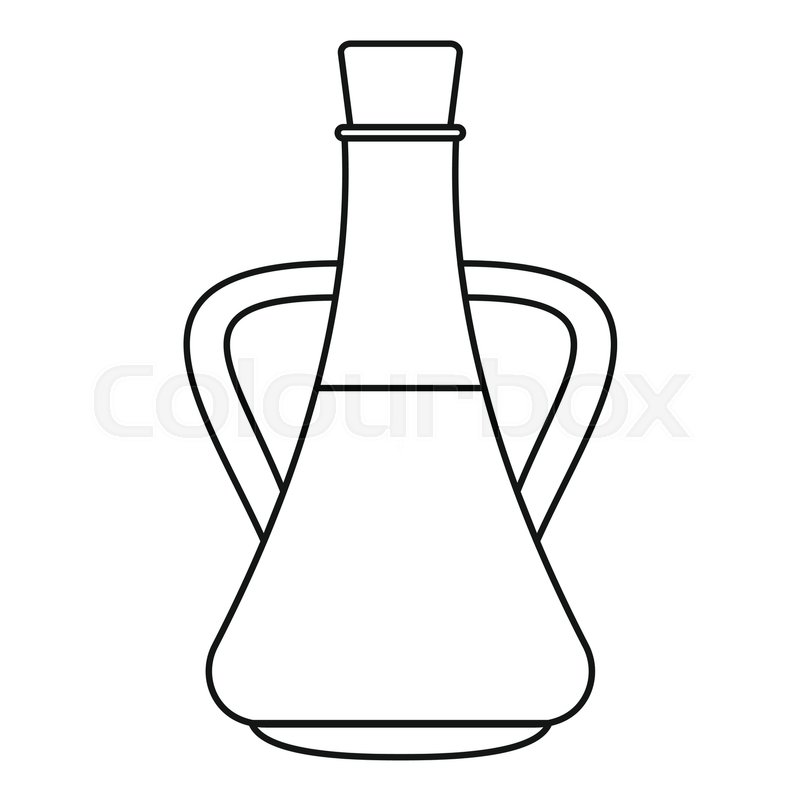 Bottle with olive oil icon. Outline illustration of bottle with ...