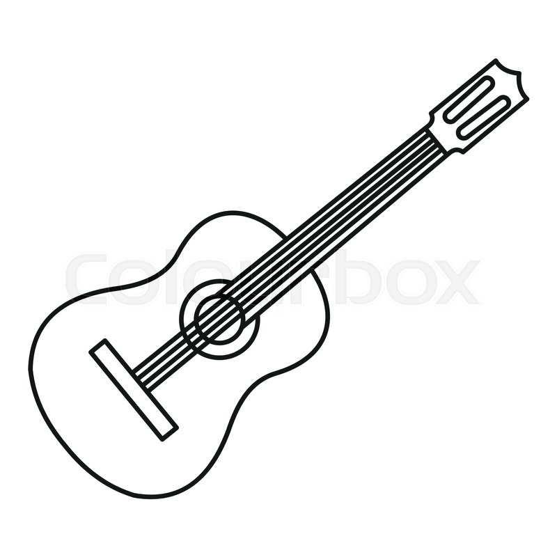 Guitar Icon Outline Illustration Of Guitar Vector Icon