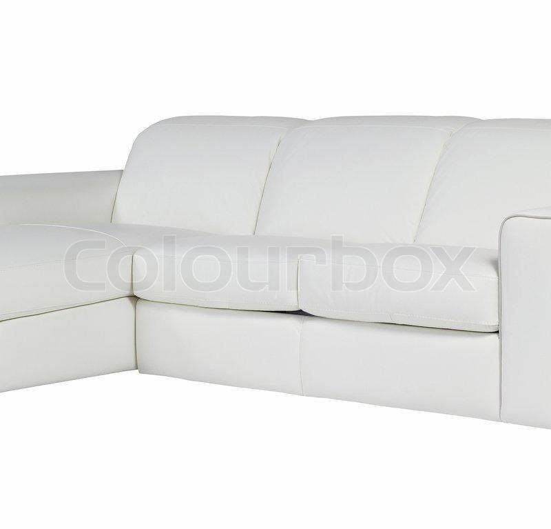 wei e ledercouch isoliert auf wei em hintergrund stock foto colourbox. Black Bedroom Furniture Sets. Home Design Ideas