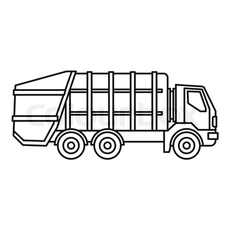 Garbage Truck Icon Outline Illustration Of Vector For Web