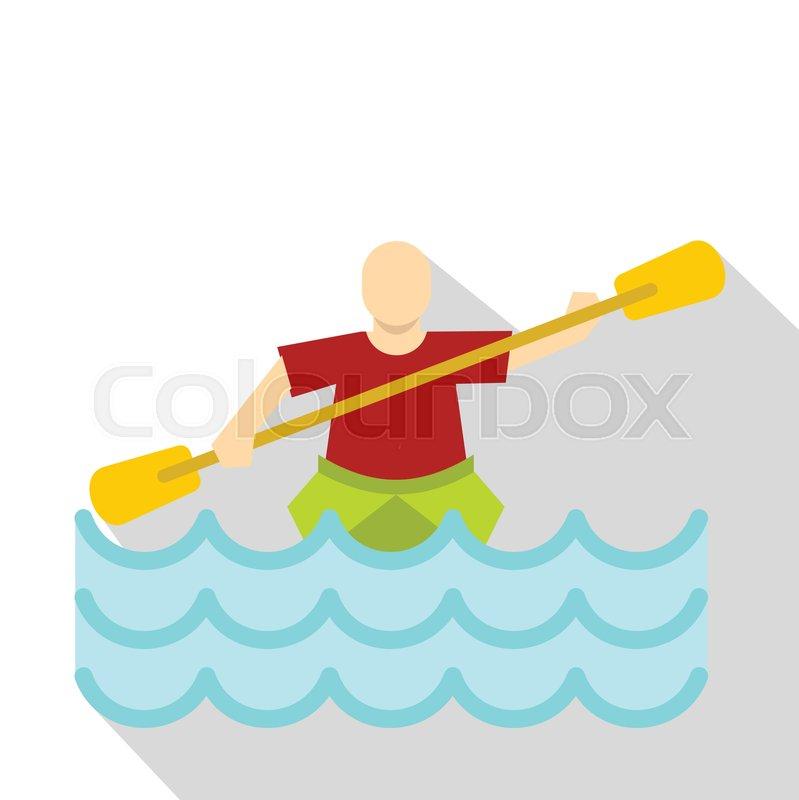 Kayaking water sport, icon. Flat illustration of kayaking water sport vector icon for web, vector