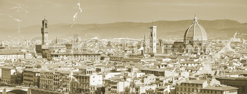 The Panorama Of Florence Old City Italy Stock Photo