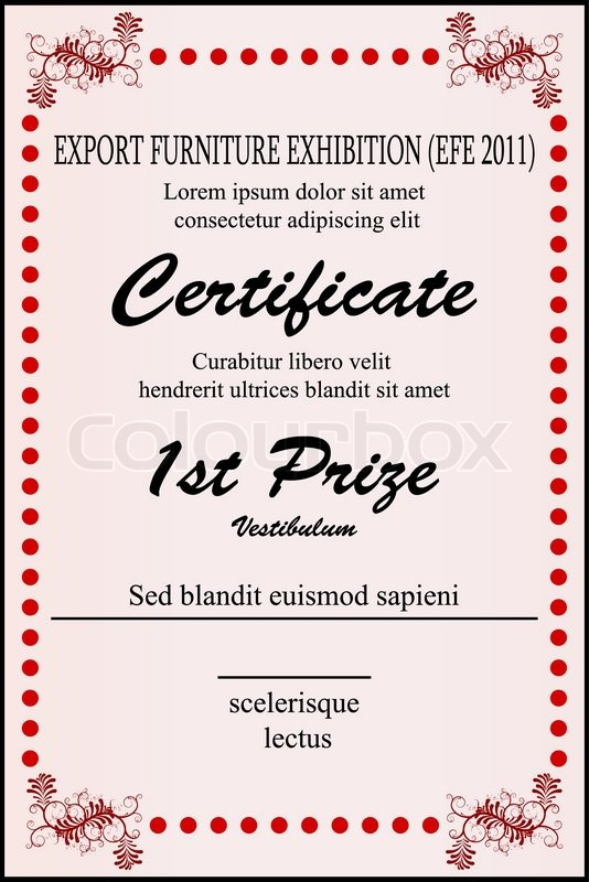 Illustration of sample certificate on white background – First Place Award Certificate