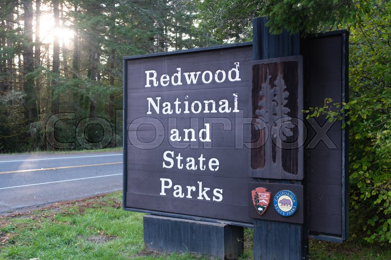 Redwood National and State Parks California Entrance Sign, stock photo